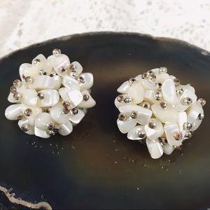 Vintage Japan Pearl Cluster Clip Earrings